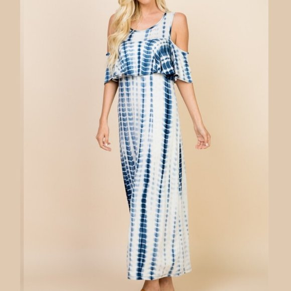 Be Stage Dresses & Skirts - Tie Dye Ruffle Maxi Dress